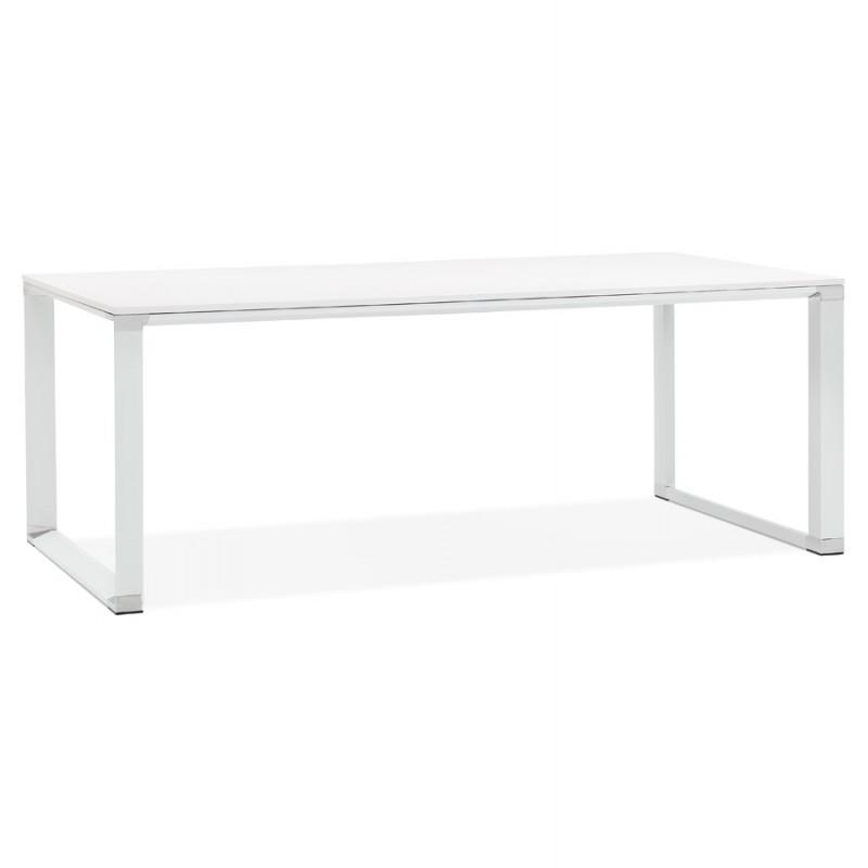 Bureau droit design en bois pieds blanc BOUNY (200x100 cm) (blanc)