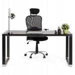 Bureau droit design en bois pieds noirs BOUNY (140x70 cm) (noir)