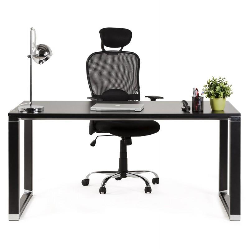 Bureau droit design en bois pieds noirs BOUNY (140x70 cm) (noir) - image 49654