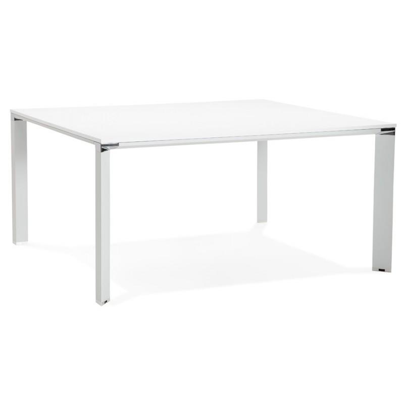 BENCH escritorio moderna mesa de reuniones pies blancos de madera RICARDO (160x160 cm) (blanco)