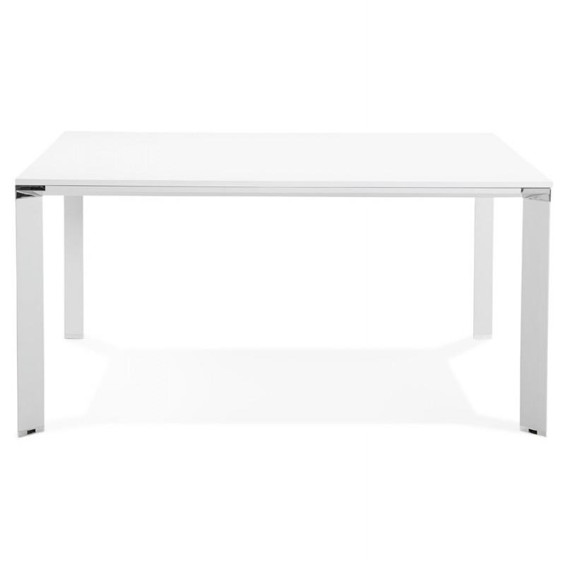 Bureau BENCH table de réunion moderne en bois pieds blanc RICARDO (160x160 cm) (blanc) - image 49656