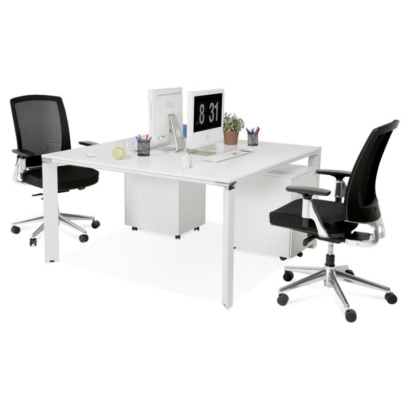 Bureau BENCH table de réunion moderne en bois pieds blanc RICARDO (160x160 cm) (blanc) - image 49663