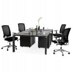 Bureau BENCH table de réunion moderne en bois pieds noirs RICARDO (160x160 cm) (noir)