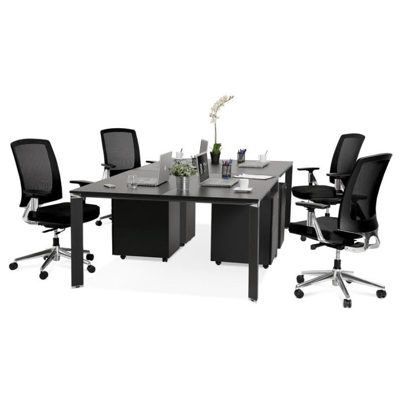 Bureau BENCH table de réunion moderne en bois pieds noirs RICARDO (160x160 cm) (noir) - image 49675