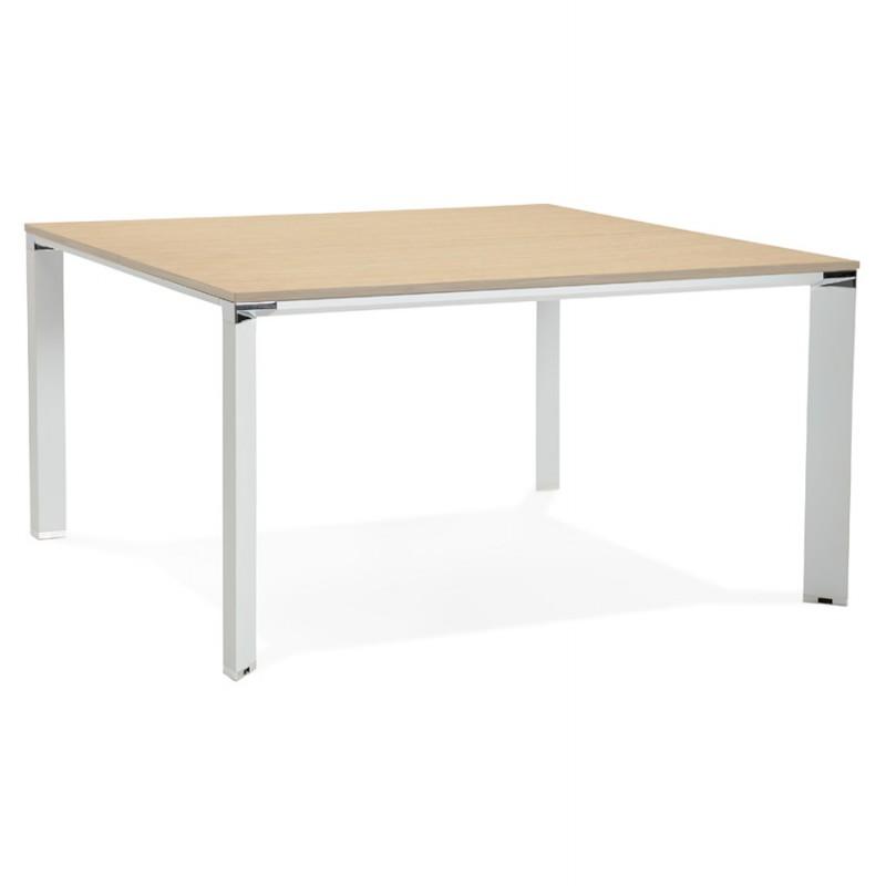 Bureau BENCH table de réunion moderne en bois pieds blancs RICARDO (140x140 cm) (naturel) - image 49677
