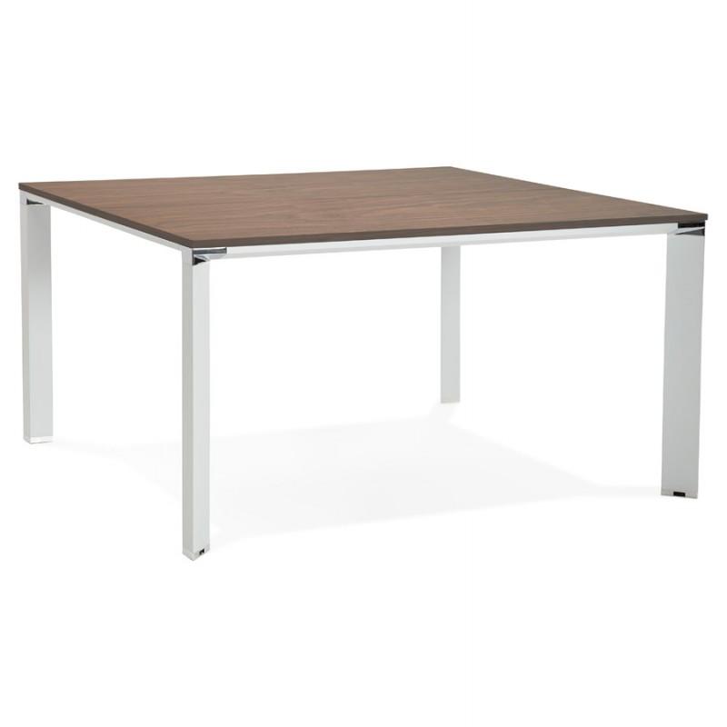 Bureau BENCH table de réunion moderne en bois pieds blancs RICARDO (140x140 cm) (noyer) - image 49682