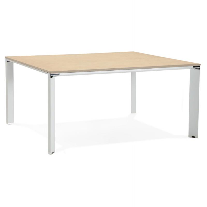 Bureau BENCH table de réunion moderne en bois pieds blancs RICARDO (160x160 cm) (naturel) - image 49699