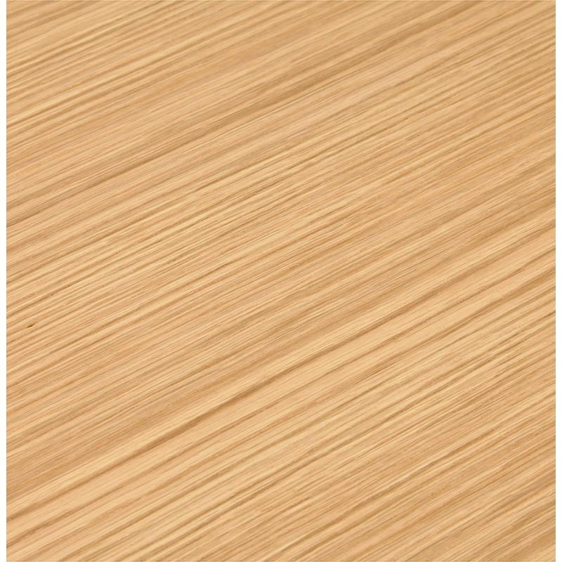 Bureau BENCH table de réunion moderne en bois pieds blancs RICARDO (160x160 cm) (naturel) - image 49701