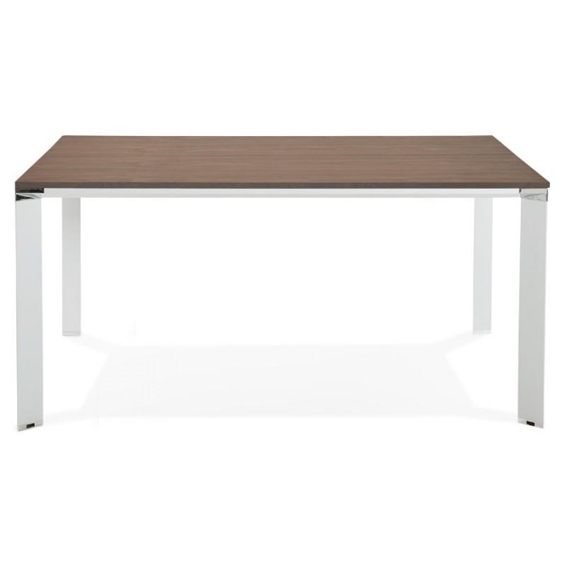 Bureau BENCH table de réunion moderne en bois pieds blancs RICARDO (160x160 cm) (noyer) - image 49705