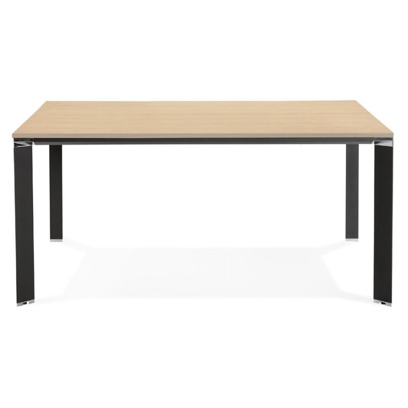 Bureau BENCH table de réunion moderne en bois pieds noirs RICARDO (160x160 cm) (naturel) - image 49710