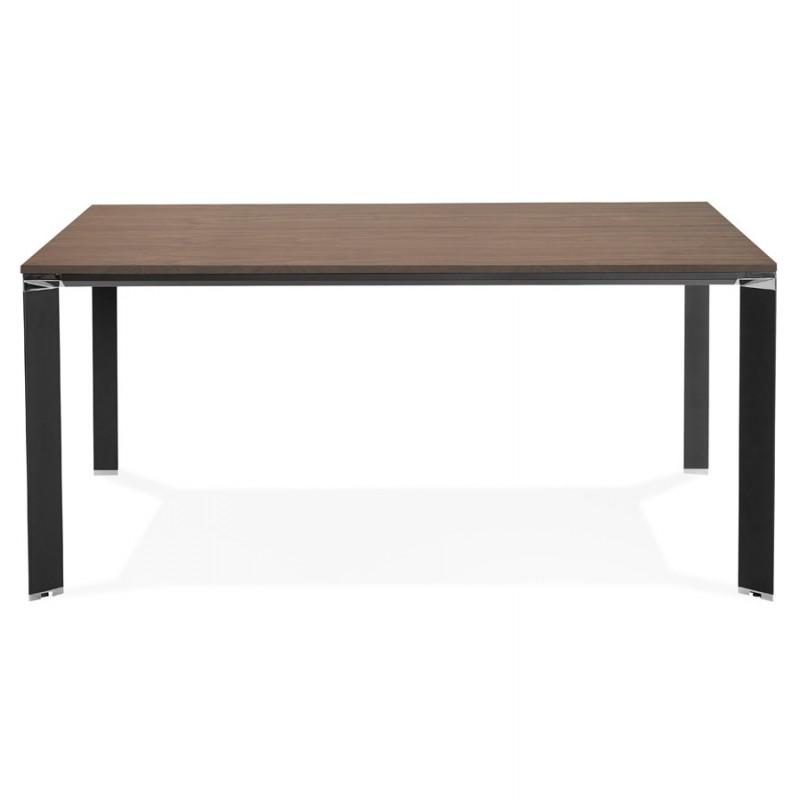 Bureau BENCH table de réunion moderne en bois pieds noirs RICARDO (160x160 cm) (noyer) - image 49716