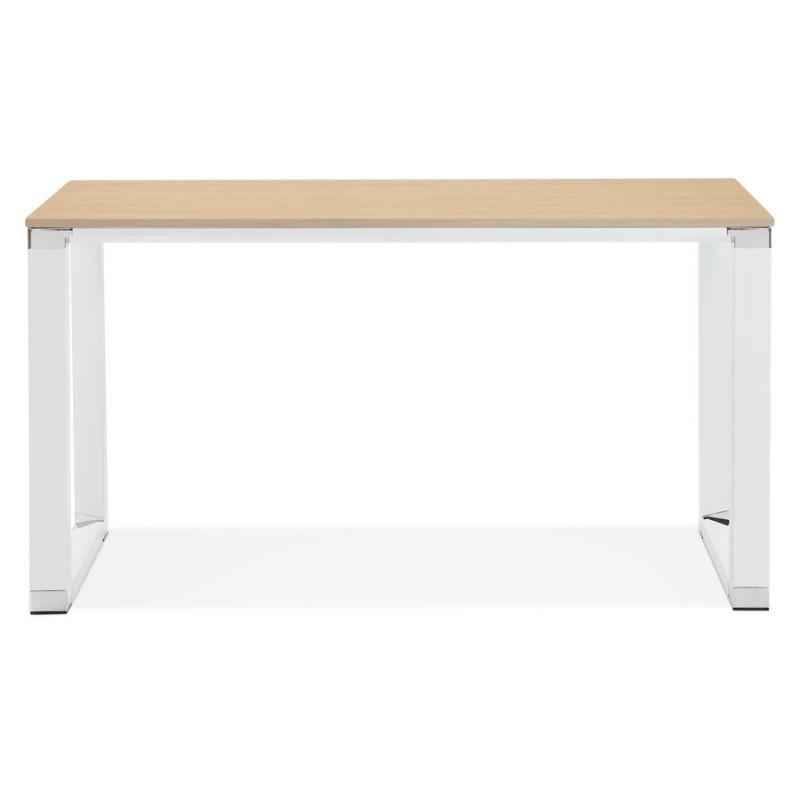 Bureau droit design en bois pieds blancs BOUNY (140x70 cm) (naturel) - image 49722