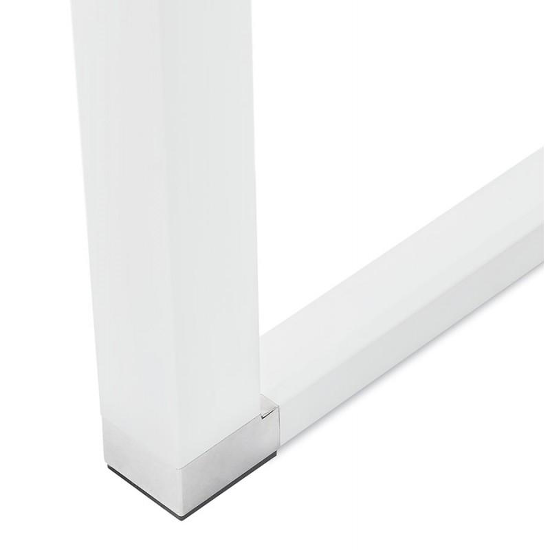 Bureau droit design en bois pieds blancs BOUNY (140x70 cm) (noyer) - image 49730