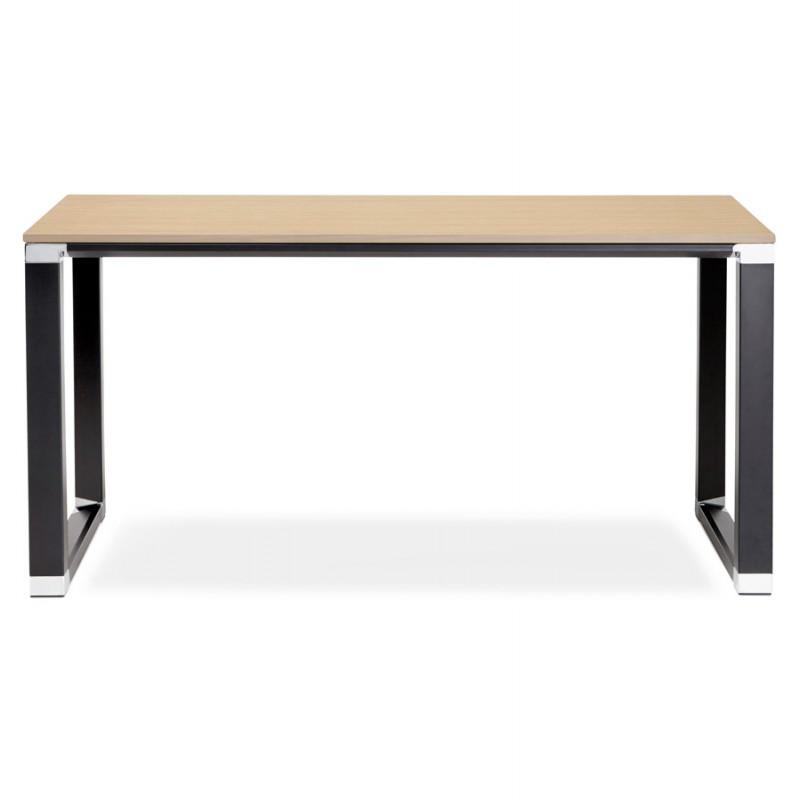 Bureau droit design en bois pieds noirs BOUNY (140x70 cm) (naturel) - image 49734
