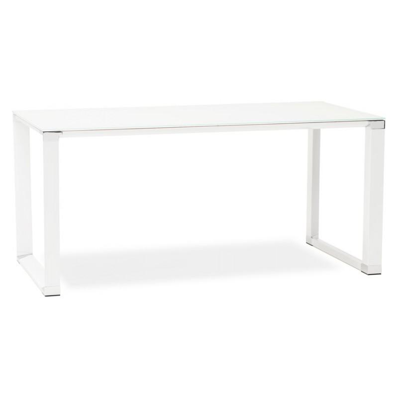 Bureau droit design en verre trempé pieds blancs BOIN (140x70 cm) (blanc) - image 49745