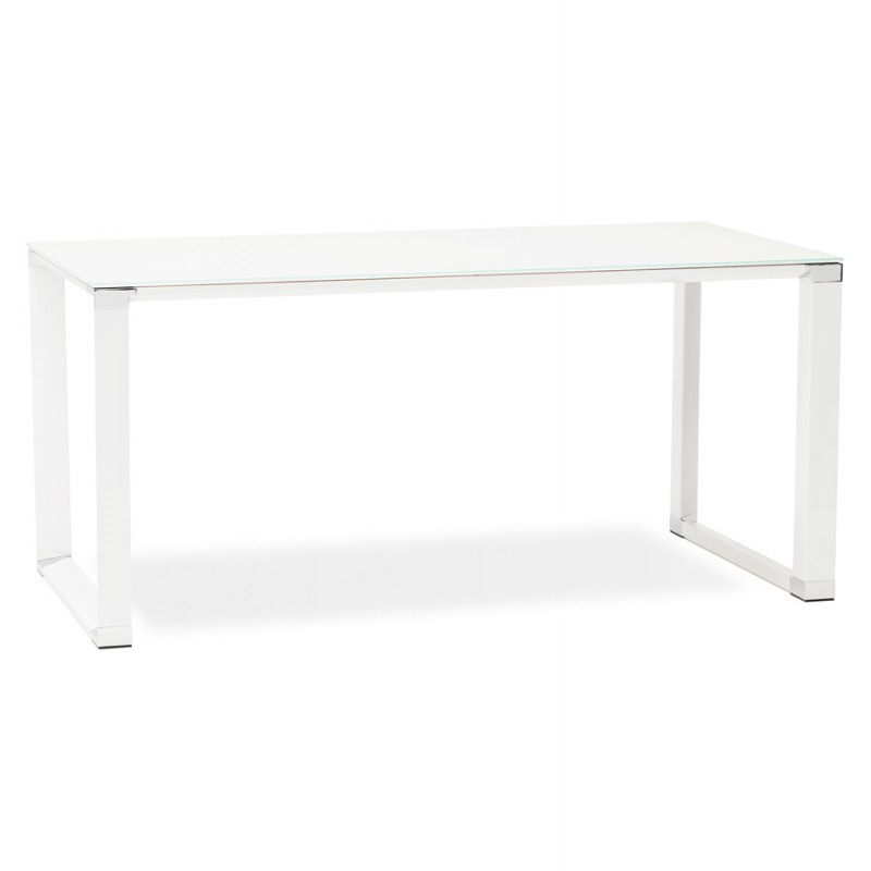 Right desk design glass soaked white feet BOIN (140x70 cm) (white) - image 49745