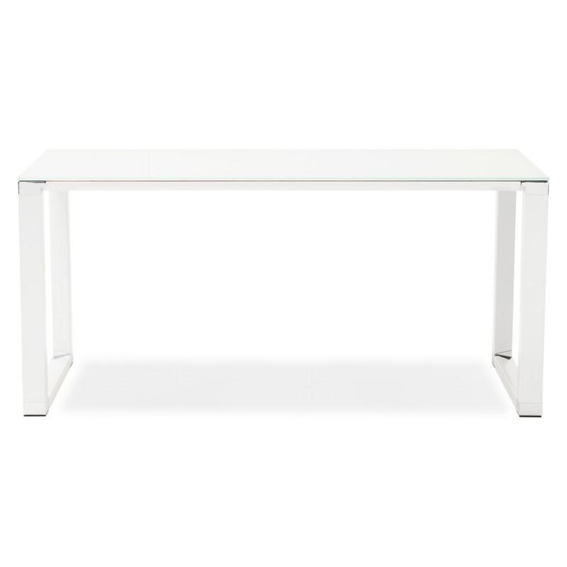 Bureau droit design en verre trempé pieds blancs BOIN (140x70 cm) (blanc) - image 49746