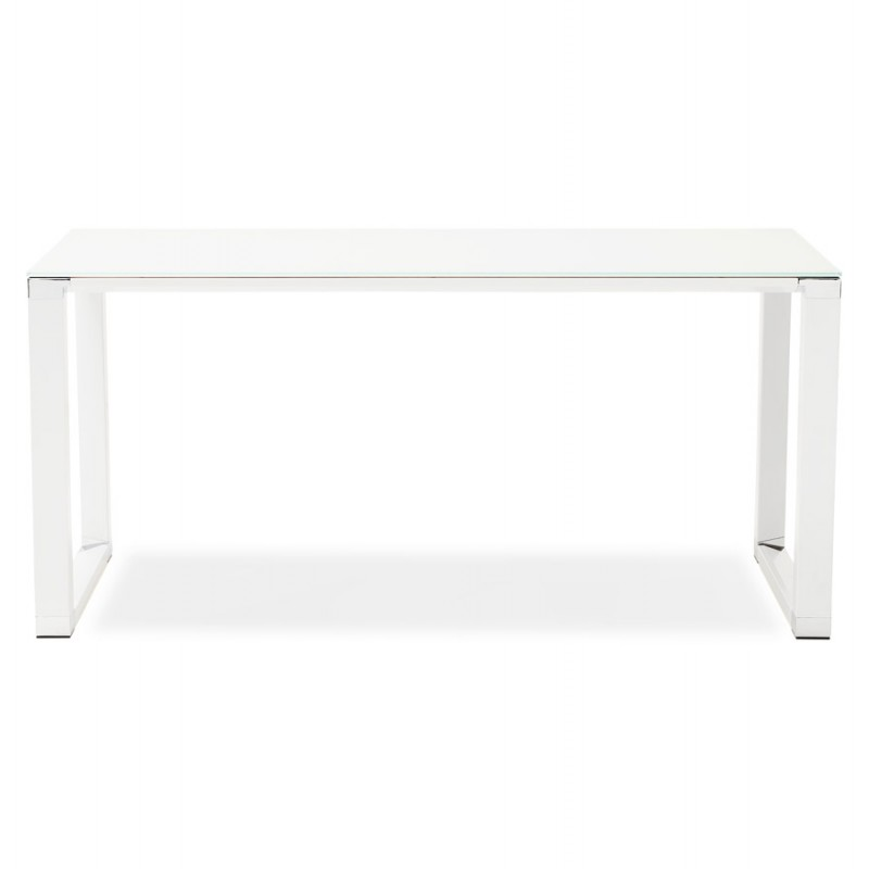 Right desk design glass soaked white feet BOIN (140x70 cm) (white) - image 49746