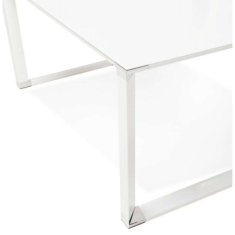 Bureau droit design en verre trempé pieds blancs BOIN (140x70 cm) (blanc) - image 49750