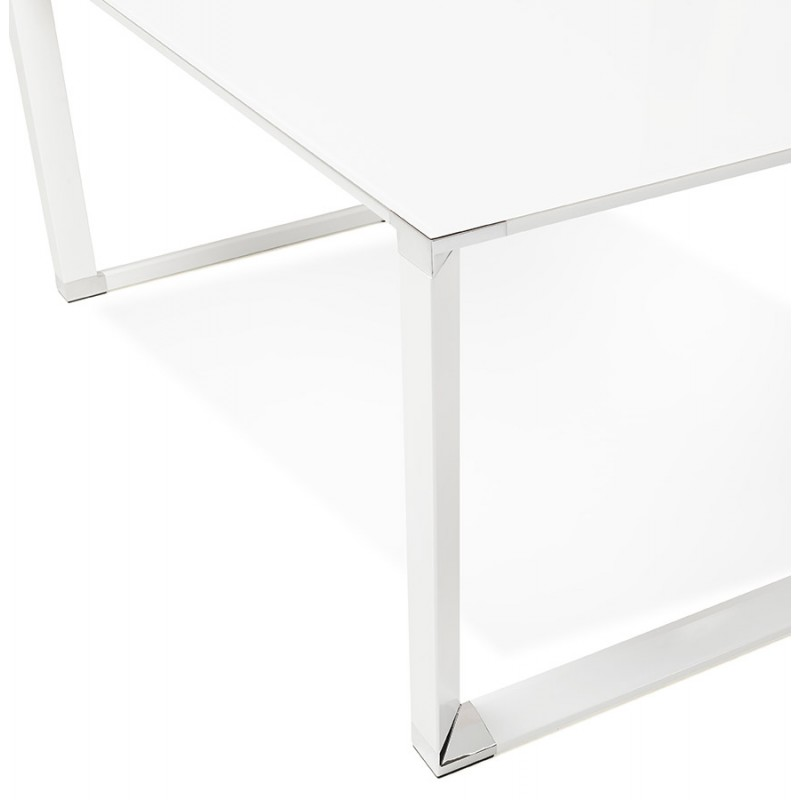 Right desk design glass soaked white feet BOIN (140x70 cm) (white) - image 49750