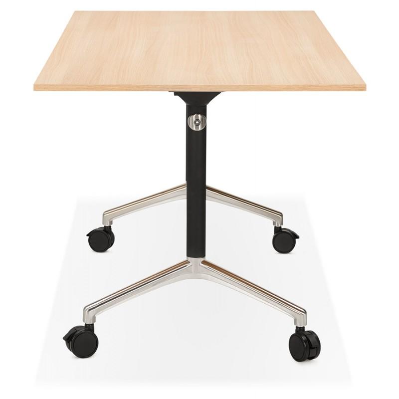 Table pliante sur roulettes en bois pieds noirs SAYA (140x70 cm) (finition naturelle) - image 49769