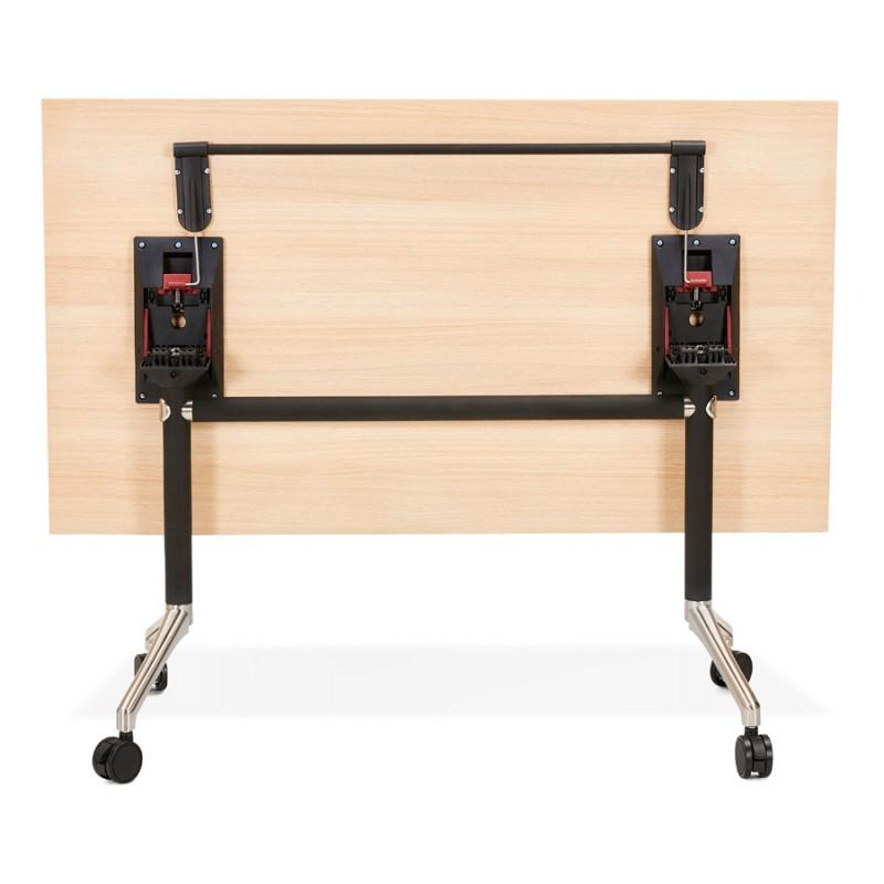 Table pliante sur roulettes en bois pieds noirs SAYA (140x70 cm) (finition naturelle) - image 49771