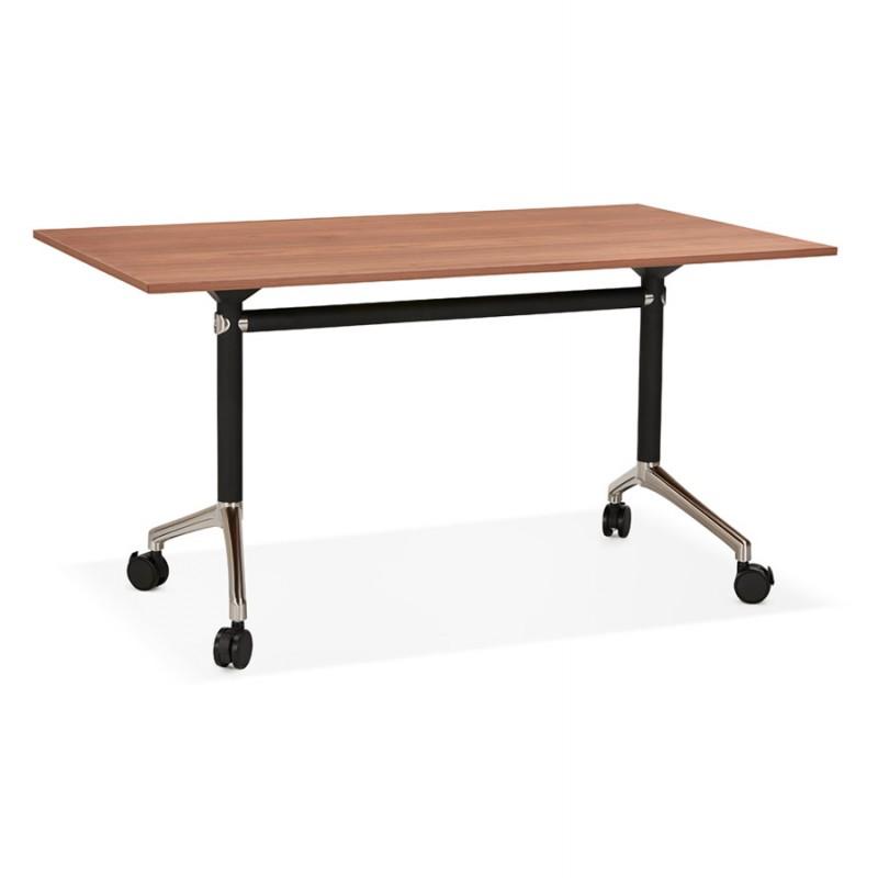 Table pliante sur roulettes en bois pieds noirs SAYA (140x70 cm) (finition noyer) - image 49780