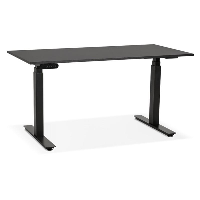 Bureau assis debout électrique en bois pieds noirs KESSY (140x70 cm) (noir) - image 49793