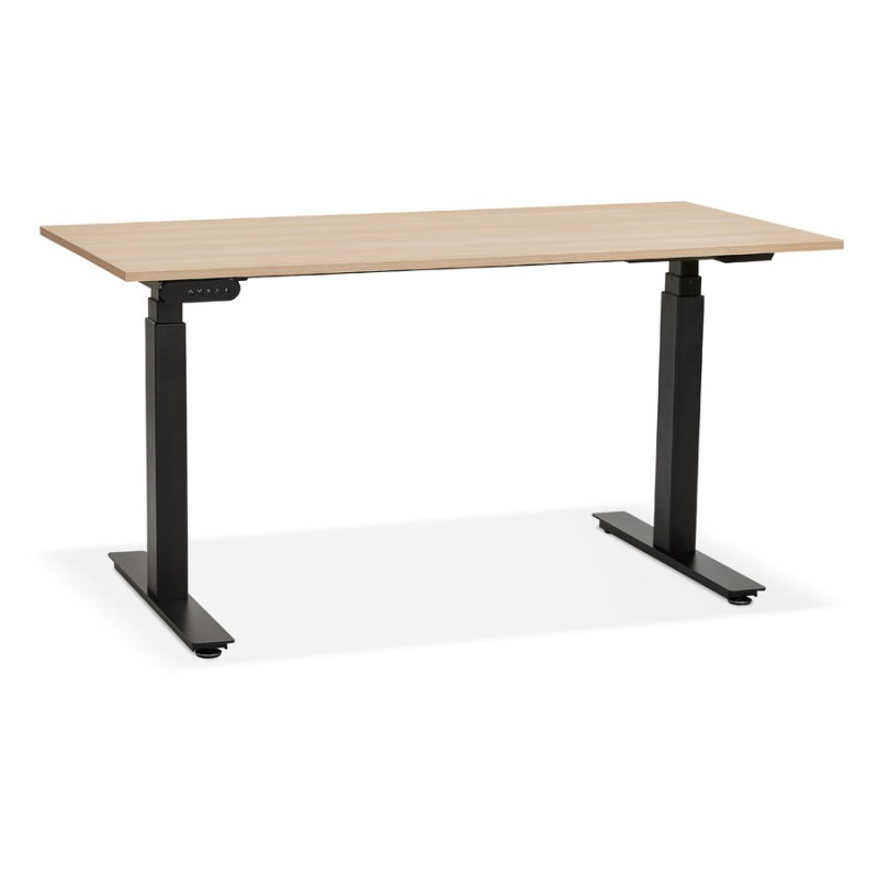 Bureau assis debout électrique en bois pieds noirs KESSY (140x70 cm) (finition naturelle) - image 49801