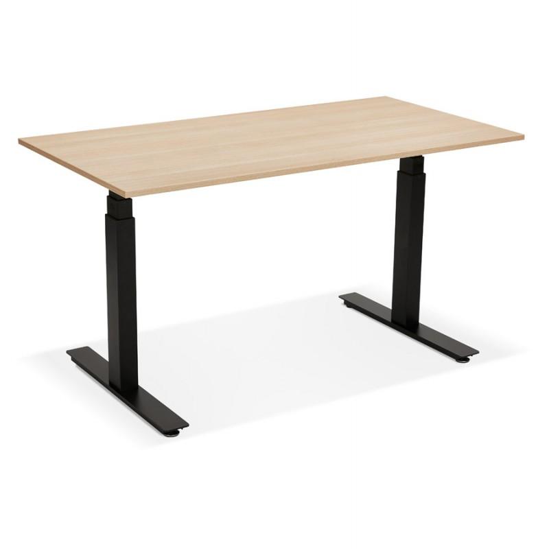 Bureau assis debout électrique en bois pieds noirs KESSY (140x70 cm) (finition naturelle) - image 49804