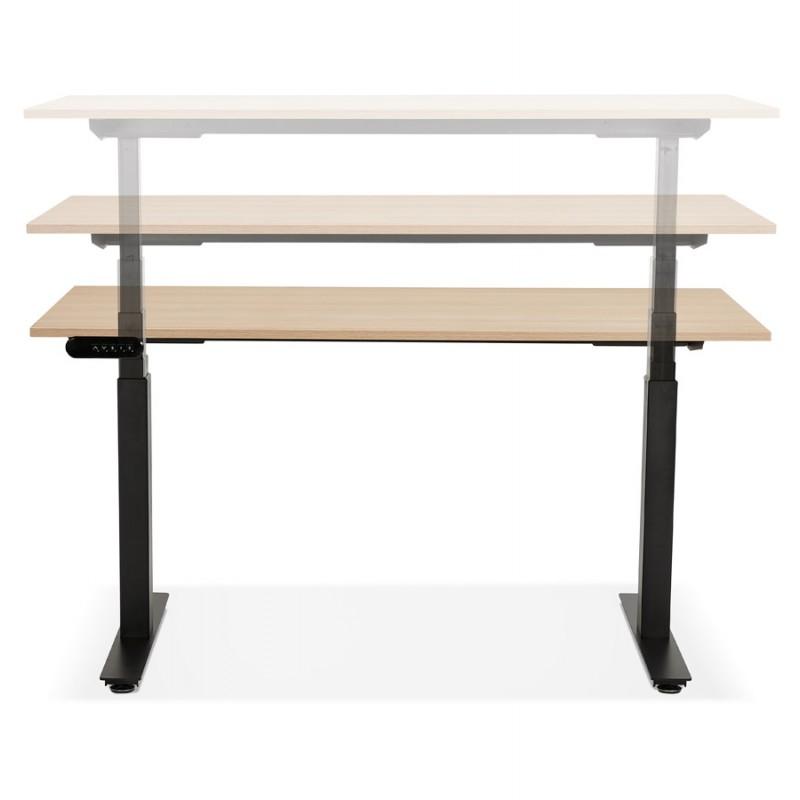 Bureau assis debout électrique en bois pieds noirs KESSY (140x70 cm) (finition naturelle) - image 49805