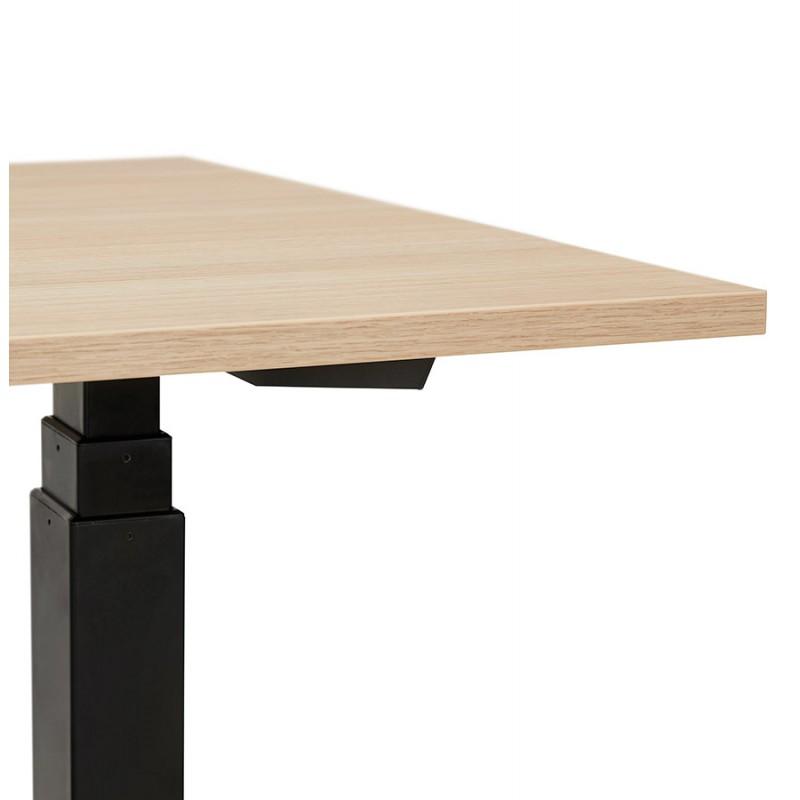 Bureau assis debout électrique en bois pieds noirs KESSY (140x70 cm) (finition naturelle) - image 49806