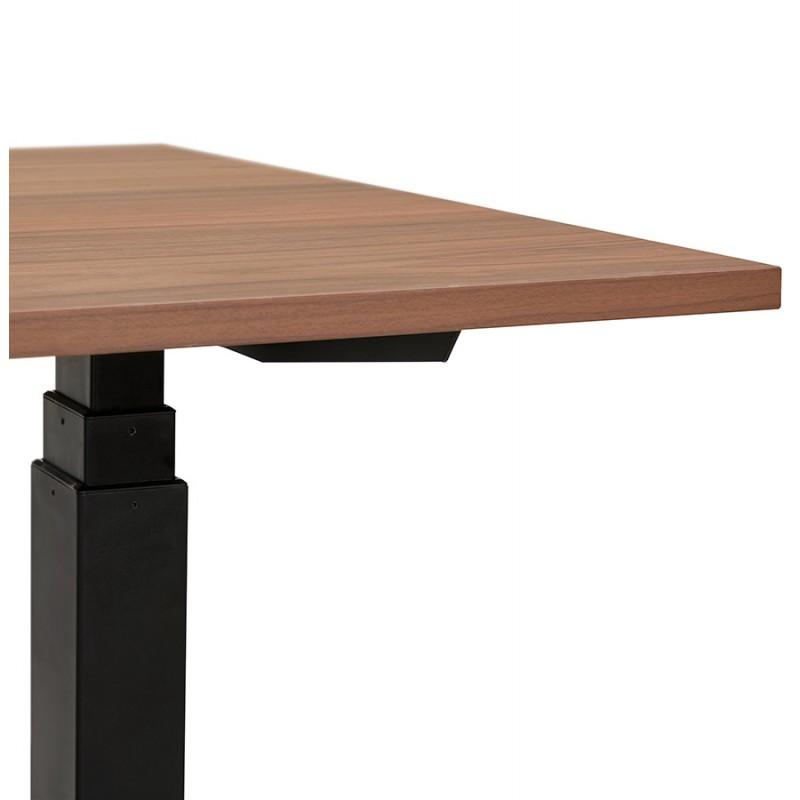 Bureau assis debout électrique en bois pieds noirs KESSY (140x70 cm) (finition noyer) - image 49815