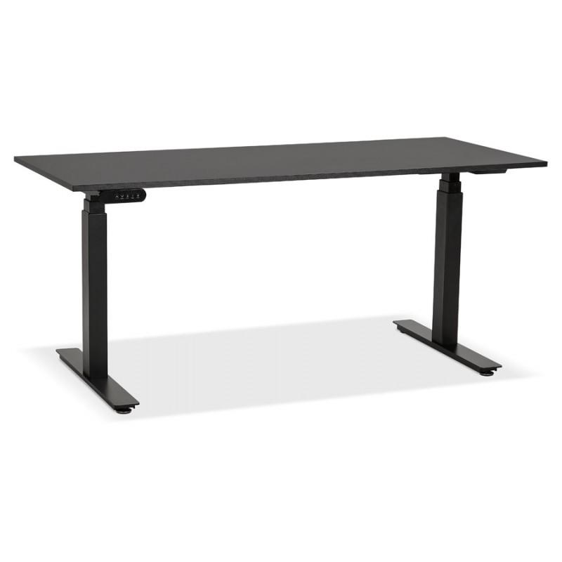 Bureau assis debout électrique en bois pieds noirs KESSY (160x80 cm) (noir)