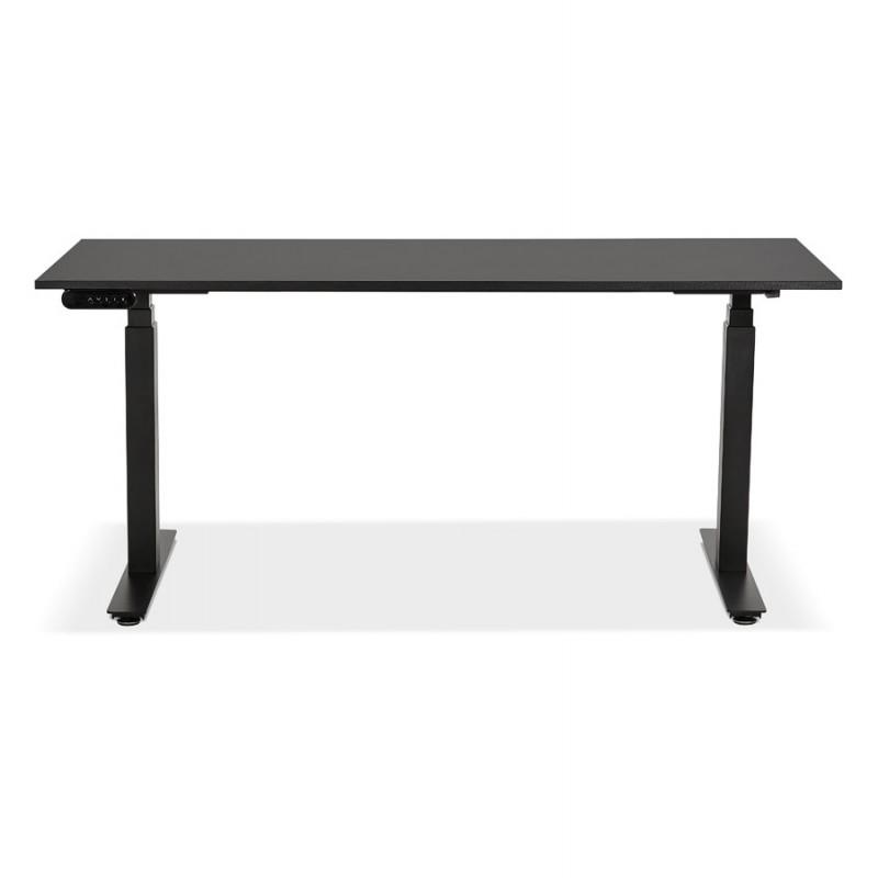 Bureau assis debout électrique en bois pieds noirs KESSY (160x80 cm) (noir) - image 49819