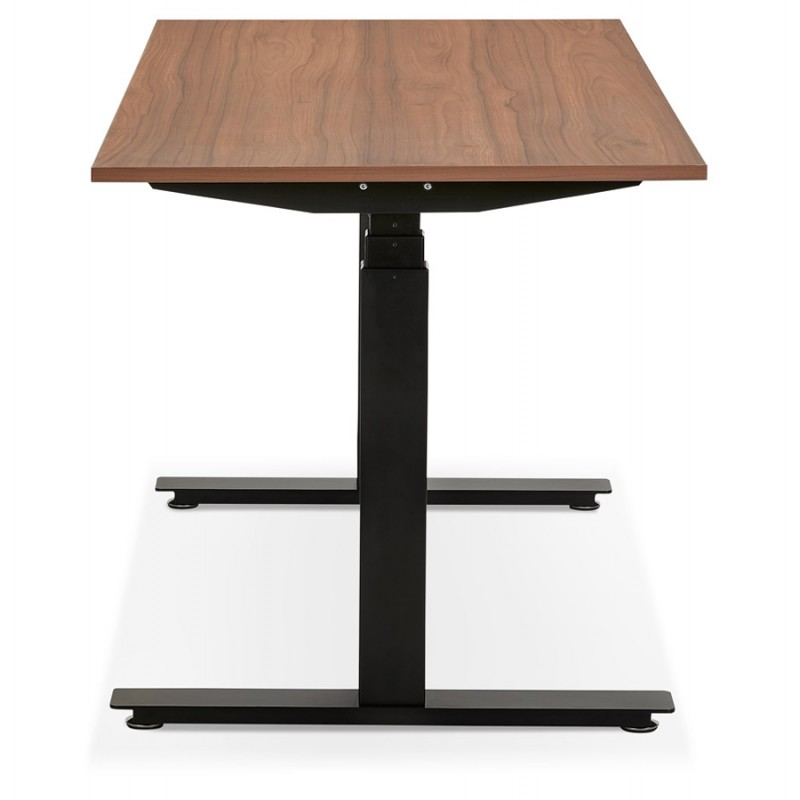 Bureau assis debout électrique en bois pieds noirs KESSY (160x80 cm) (finition noyer) - image 49836