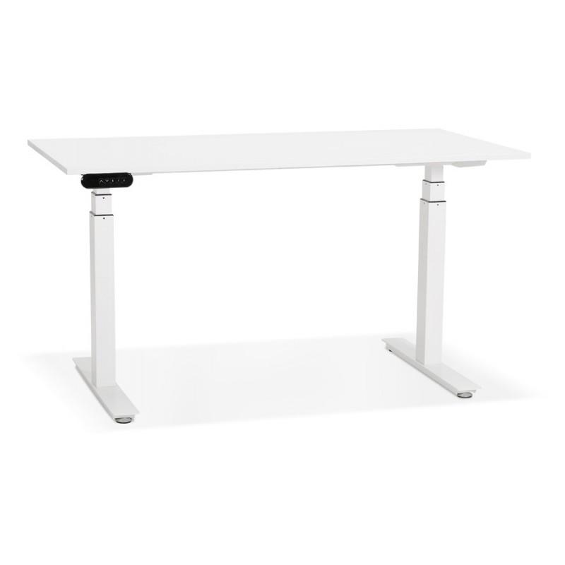 Bureau assis debout électrique en bois pieds blancs KESSY (140x70 cm) (blanc) - image 49843