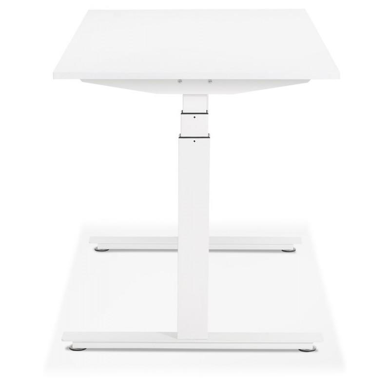 Bureau assis debout électrique en bois pieds blancs KESSY (140x70 cm) (blanc) - image 49845