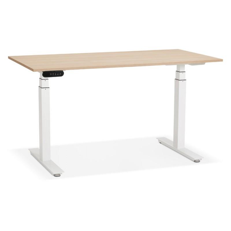 Bureau assis debout électrique en bois pieds blancs KESSY (140x70 cm) (finition naturelle)