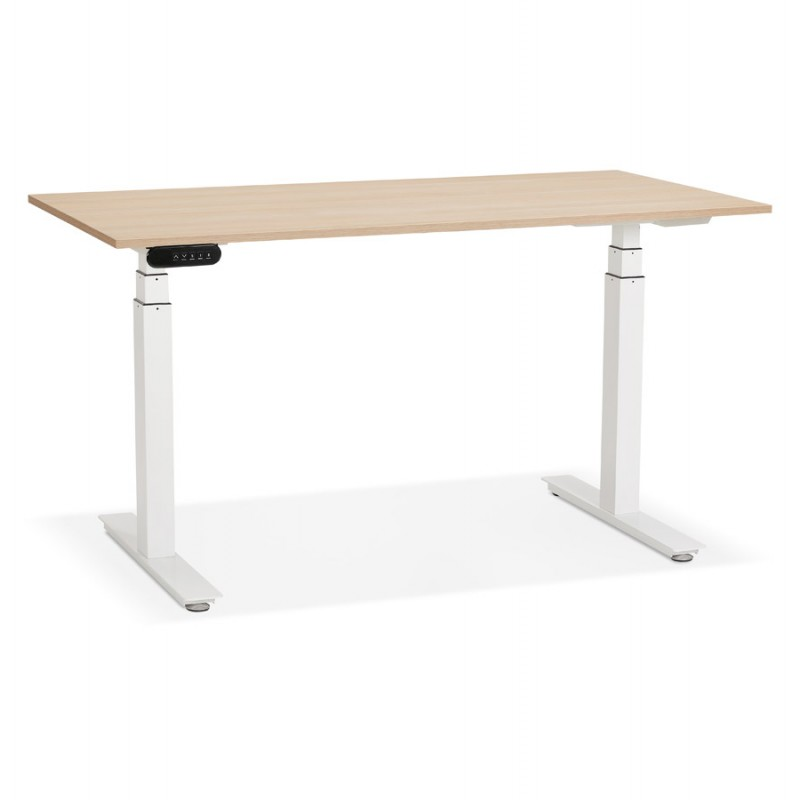 Seated standing electric wooden white feet KESSY (140x70 cm) (natural finish) - image 49850