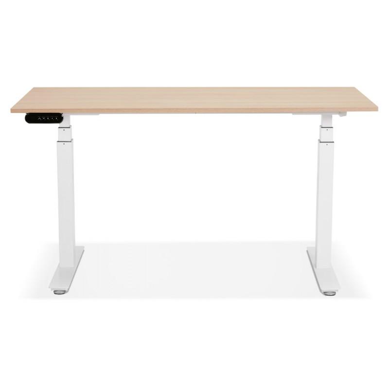 Bureau assis debout électrique en bois pieds blancs KESSY (140x70 cm) (finition naturelle) - image 49851