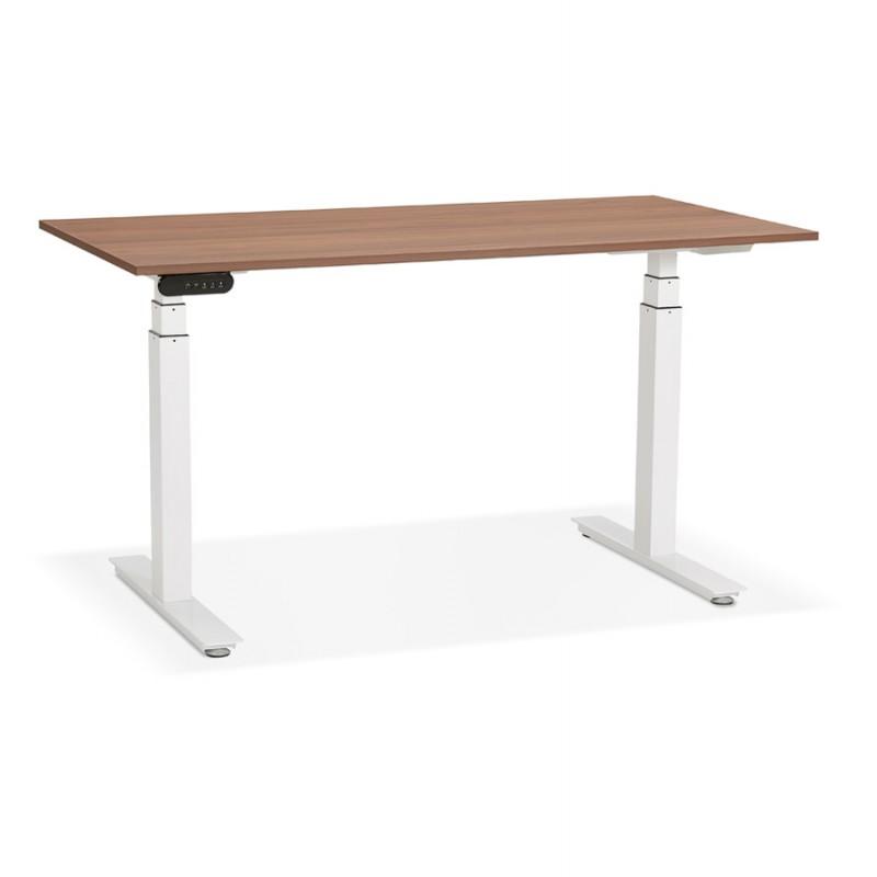 Bureau assis debout électrique en bois pieds blancs KESSY (140x70 cm) (finition noyer) - image 49858