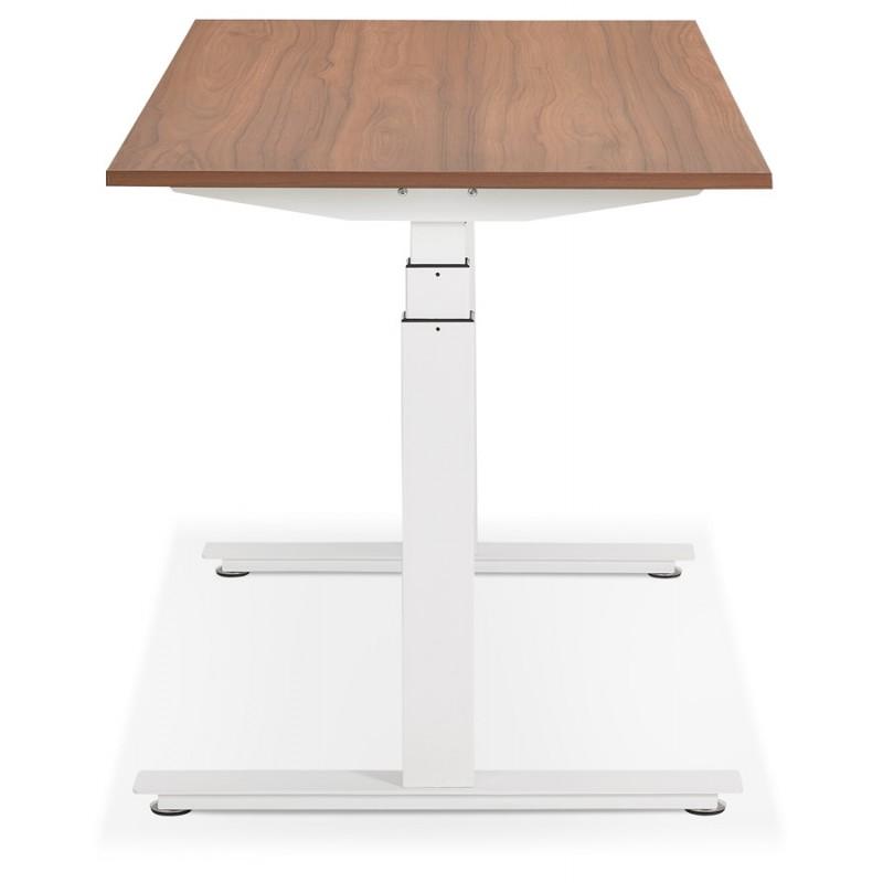 Bureau assis debout électrique en bois pieds blancs KESSY (140x70 cm) (finition noyer) - image 49860