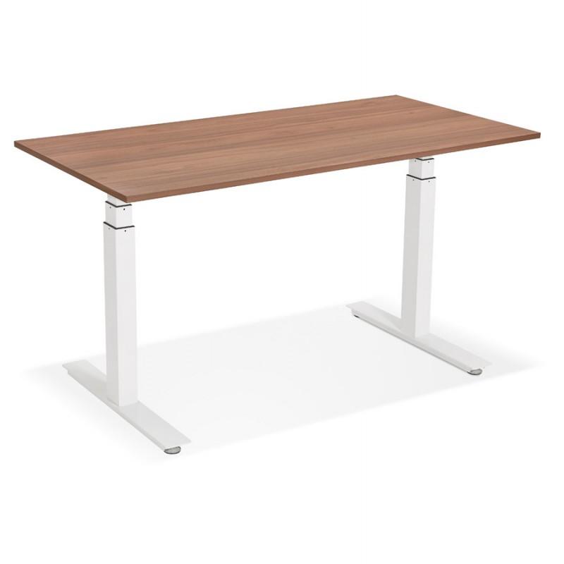 Bureau assis debout électrique en bois pieds blancs KESSY (140x70 cm) (finition noyer) - image 49861