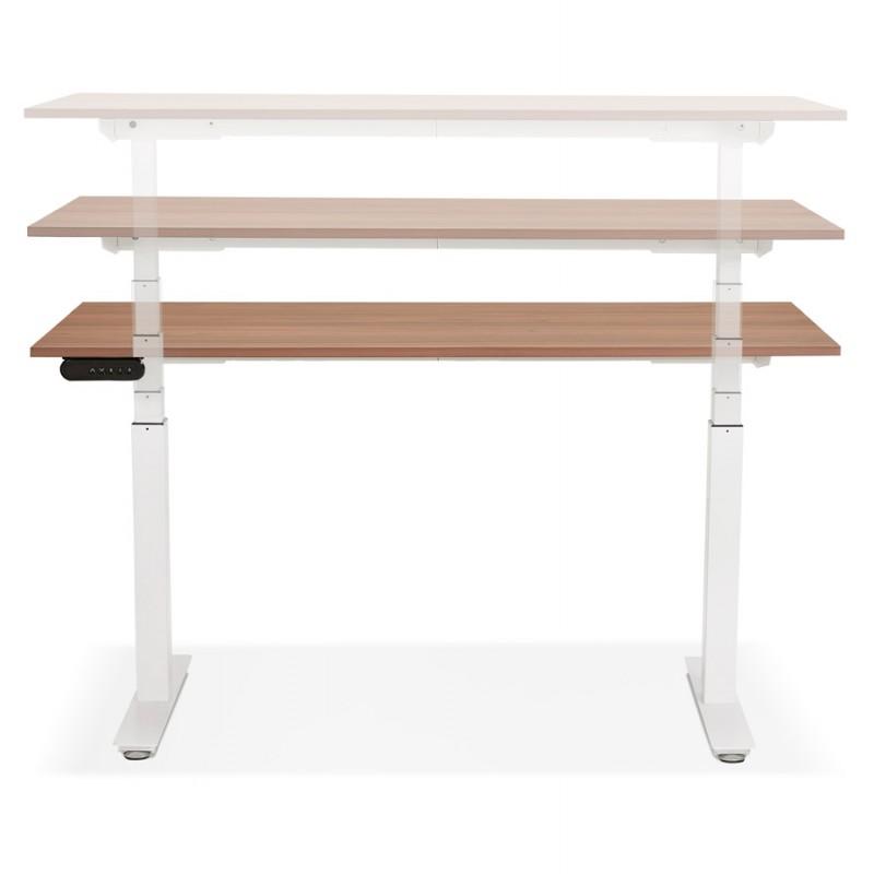 Bureau assis debout électrique en bois pieds blancs KESSY (140x70 cm) (finition noyer) - image 49862