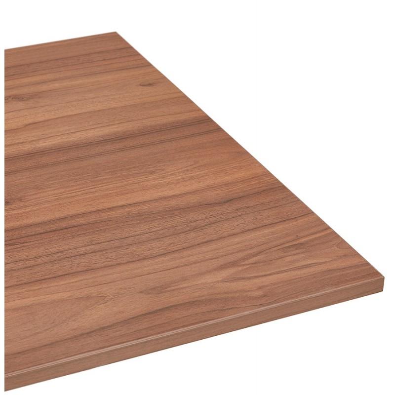 Bureau assis debout électrique en bois pieds blancs KESSY (140x70 cm) (finition noyer) - image 49863