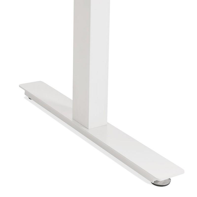 Bureau assis debout électrique en bois pieds blancs KESSY (140x70 cm) (finition noyer) - image 49864