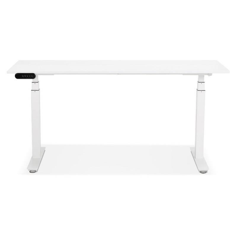 Bureau assis debout électrique en bois pieds blancs KESSY (160x80 cm) (blanc) - image 49867