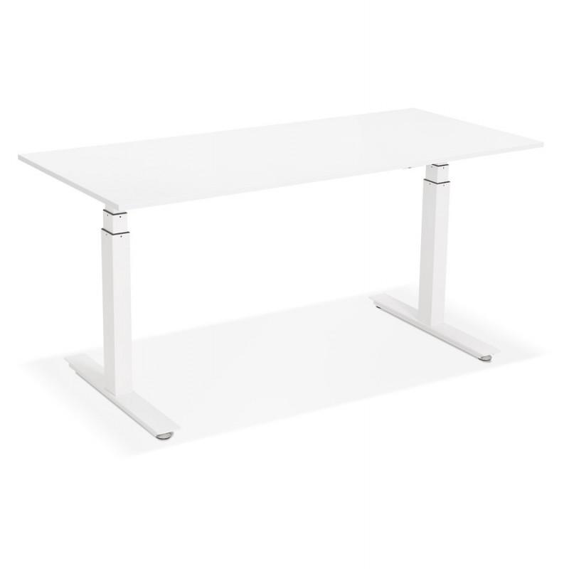 Bureau assis debout électrique en bois pieds blancs KESSY (160x80 cm) (blanc) - image 49869