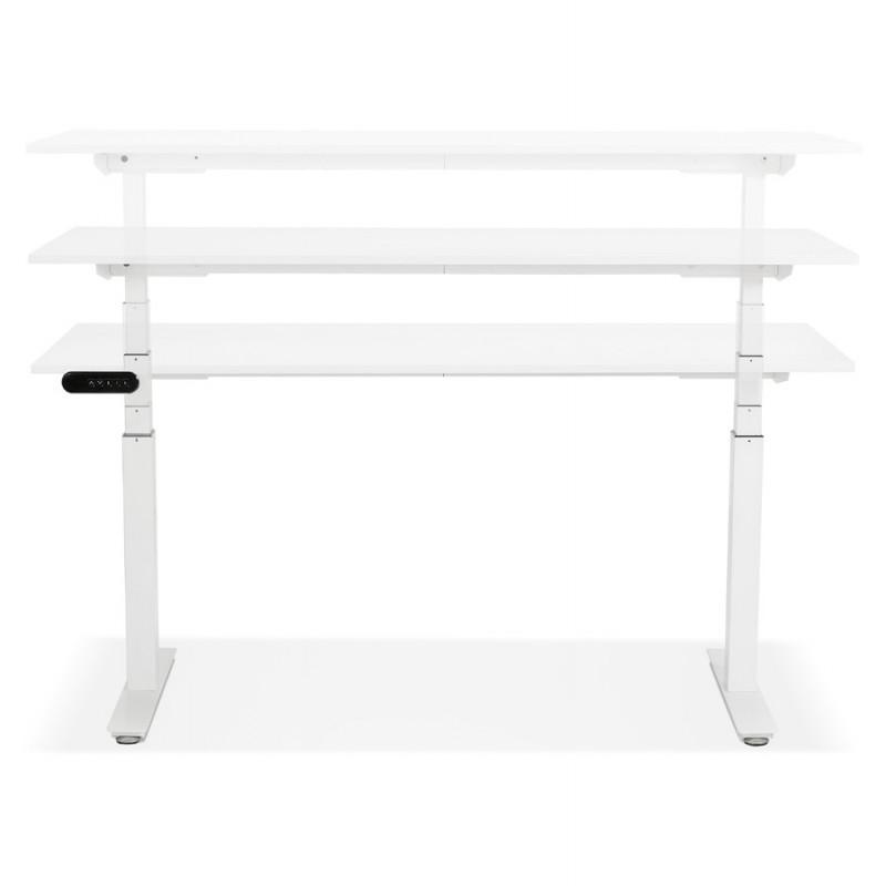 Bureau assis debout électrique en bois pieds blancs KESSY (160x80 cm) (blanc) - image 49870